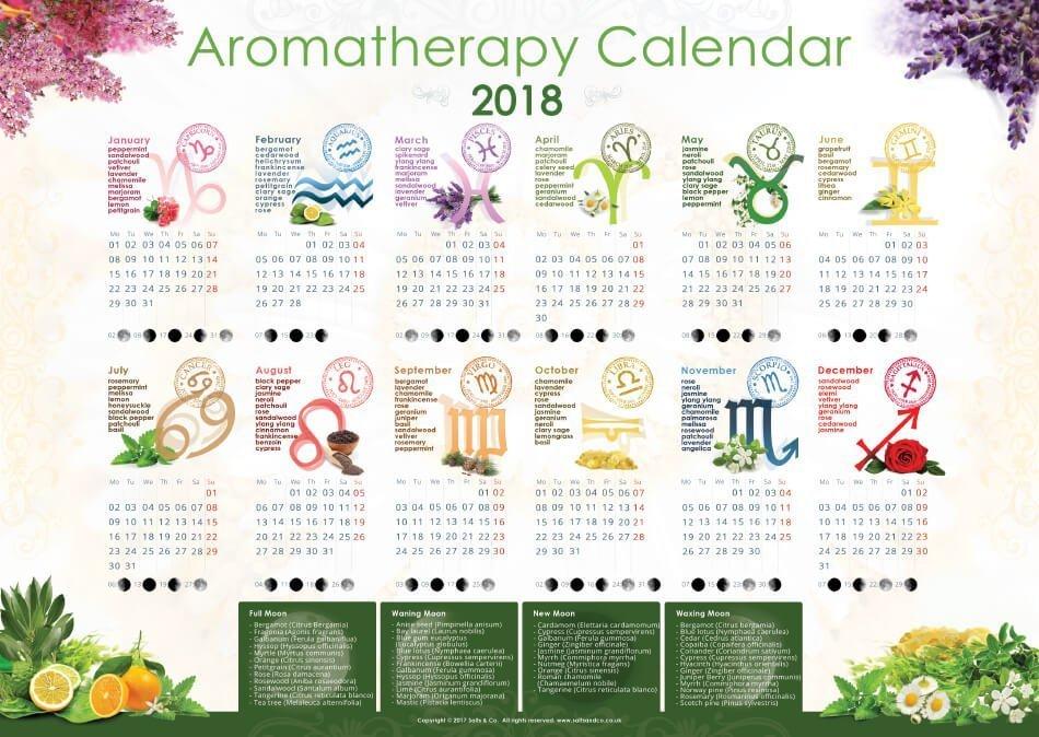 2018 Aromatherapy Calendar wall planner