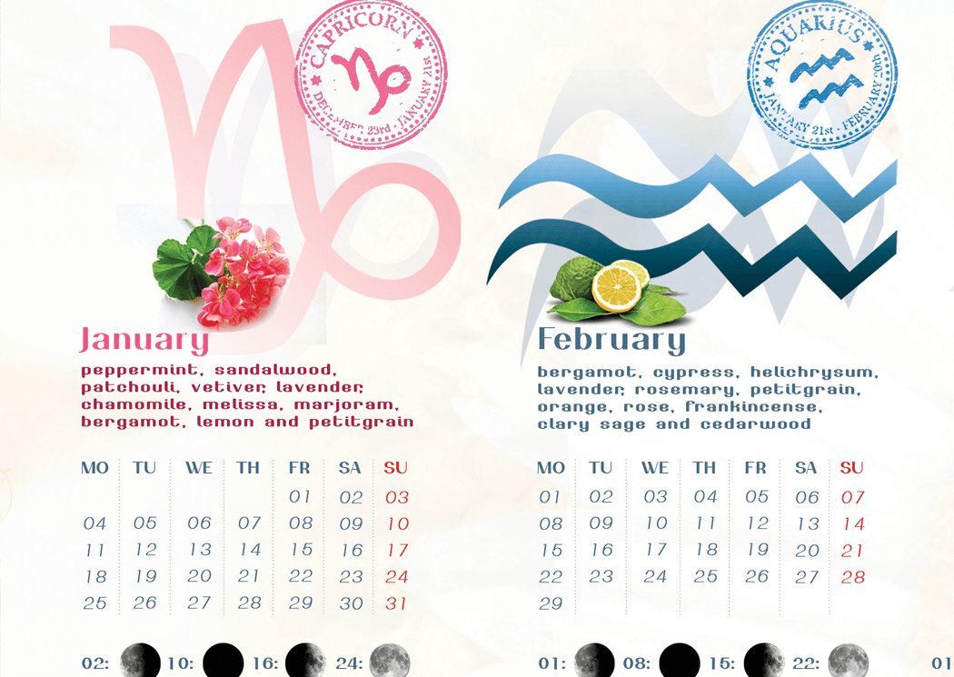 Aromatherapy Calendar Zodiac Signs