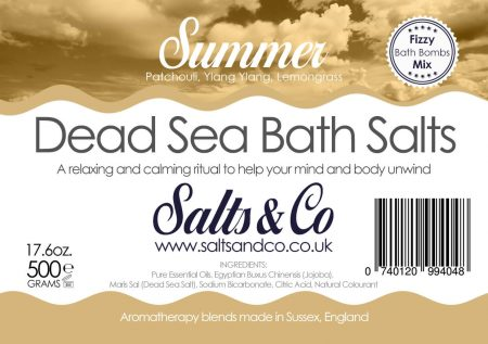 Summer Dead Sea Salts - Patchouli, Ylang Ylang, Lemongrass Essential Oils - Salts & Co Organic Natural Aromatherapy Bath Salts - 500g